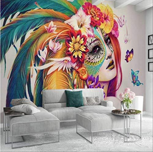 Gepersonaliseerde 3D-foto, creatieve achtergrond, schilderen, kleurrijk, met vlinders Larghezza 200cm - Altezza140cm Een