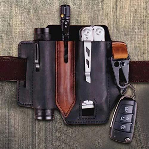Breale EDC taktische Taille Clip, Universal Leder Mantel Taille Holster Gürtel Loop Organizer Tasche Taschenlampe Aufbewahrung Tasche Tasche für Outdoor-Jagd Klettern