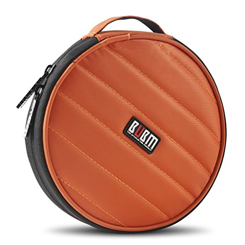 0721H BUBM Portable Round 32 CD Disc Storage Case Bag Heavy Duty CD/DVD Wallet for Car, Home, Office and Travel (Orange)
