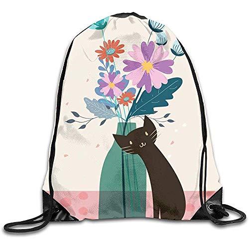 Yuanmeiju Travel Sackpack,Gym Drawstring Backpack,Shopping Shoulder Bag,Lightweight Draw Cord Bag,Black Cat Flowers Pull String Bags for Women Shoulder Traveling NCH Pack,String Storage Bag,Yoga Ruck