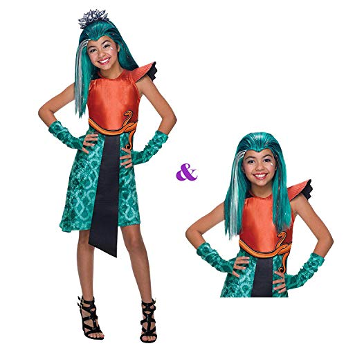 Savahe Monster High Nefera De Nile Kostüm mit oder ohne Perücke / Karneval Fasching Cleopatra Party (122/128 mit Perücke)