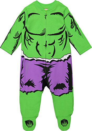 Marvel Avengers The Hulk Baby Boys' Zip-Up Costume Coverall with Footies (3-6 Months)