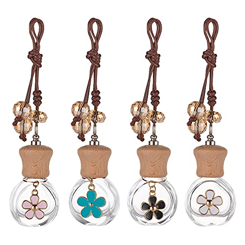 PandaHall 4 Colors 4 Sets Hanging Perfume Bottle, 8ml Flower Pattern Air Freshener Bottles Refillable Essential Oil Scent Diffuser for Cars Natural Auto & Home Boho Decor