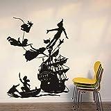 HGFDHG Calcomanías de Pared de Hadas Gancho de Barco Pirata de Dibujos Animados Puertas y Ventanas de Cuento de Hadas Pegatinas de Vinilo niños Dormitorio Infantil Arte decoración de Interiores