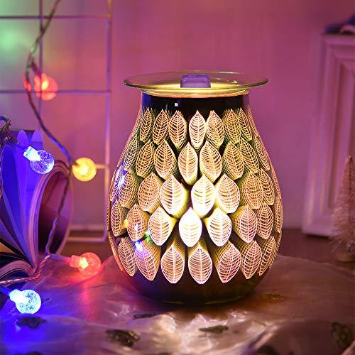 Nullnet Elektrischer Ölbrenner, 3D-Blatt-Aromalampe, verstellbares Glas, Wachsbrenner, abnehmbares Nachtlicht, Duftwachswärmer für Schlafzimmer, Wohnzimmer, Geschenke