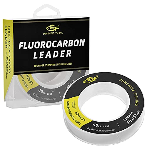 SF 100% puro fluorocarbono líder sedal de pesca prácticamente invisible, resistente a los golpes, mayor sensibilidad, disipador rápido transparente, 50 yardas, 6,8 kg