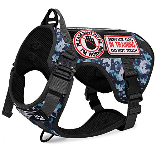 voopet Tactical Dog Harness with 6Pcs Removeable Tags - Adjustable No-Pull Military Dog Vest with Hook & Loop Panels for ID Patch, K9 Pet Working Training Molle Vest with Easy Control Handle