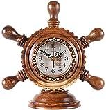 LIUFEI Relojes de Pared Reloj de Pared Mantel Vintage Mesa de Madera silenciosa Rústico Classic Retro Desempeño Decoración de la Hogar Batería Operada