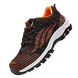 Transpirables Cómodos Zapatillas,Ligeras con Puntera de Acero Zapatos de Trabajo Zapatillas de Seguridad Antideslizante Unisex,Orange▁46