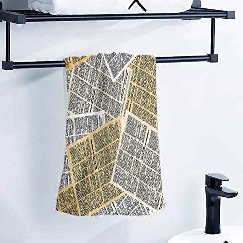 alisoso Old Newspaper Decor Best Towels 28x14 Inch Pages of Old Journals Magazines Columns Information Print Towel Baby Bath Towel Pattern Towel
