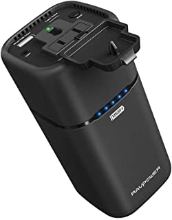 AC コンセントポータブル充電器 RAVPower 20100mAh 65W(最大) 内蔵の2プロングACプラグ外部バッテリーパック旅行用充電器 MacBook、Surface Pro、Dell XPS 13、iPhone X、Galaxy S9、Note 8用 - 更新済み