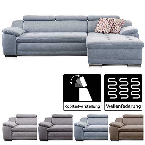 Cavadore Ecksofa Aniamo mit XL-Longchair rechts Eckcouch im modernen Design / Inkl. Verstellbarer Kopfteile / 270 x 80 x 165 / Hellblau