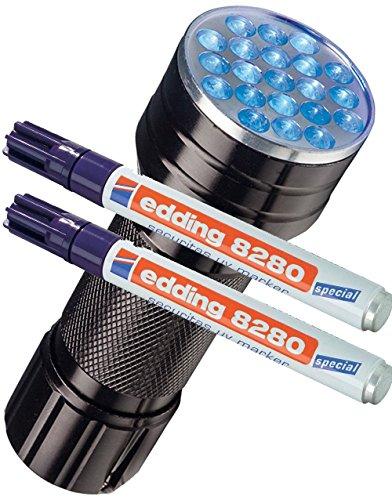 edding Doppelpack Spezialmarker 8280 securitas UV Marker, 1,5-3 mm, farblos + eine UV LED Lampe