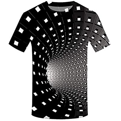 Balakie Trendy Tops for Men, 3D Optical Illusion Print O Neck Short Sleeve Shirt Blouse