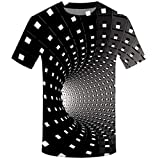 Camicia Uomo 3D Uomini Tronchi Casuale Manica Corta Maglietta per la Spiaggia Stampa 3D Girocollo (XXL,14- Nero)