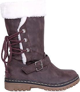 11f7103db8f6f Botte Longue Femme Hiver Fourrées Plate Daim Cuir Neige Winter Knee Boots  Chaussures Talon Chaud Lacets