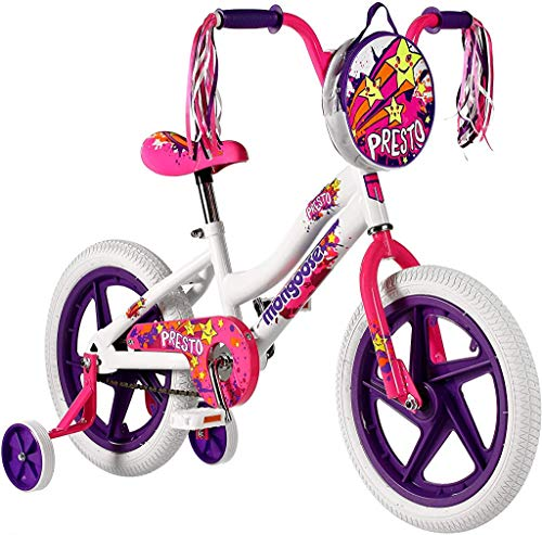 Mongoose Girls Presto Bike with 16-Inch Wheels, White