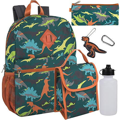 Boy's 6 in 1 Backpack With Lunch Bag, Pencil Case, and Accessories (Dueling Dinos)