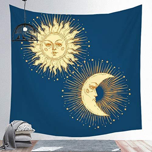 Tapiz de sol y luna Mandala colgante de pared Tarot tela de fondo psicodélico Tapiz brujería tapiz de tela de pared a6 130x150cm
