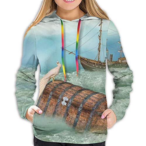 Women's Hoodies Sweatshirts,Antique Old Trunk in Ocean Waves with Magic Bird Pirate Boat Picture M
