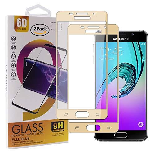 Guran [2 Pezzi Pellicola Vetro Temperato per Samsung Galaxy A3 2016 A310 Smartphone Copertura Completa 9H Durezza Anti-Impronte HD Pellicola Protettiva - Oro