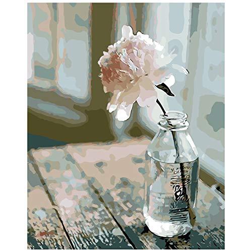 TAHEAT DIY Malen nach Zahlen Kit für Erwachsene Anfänger, Blumen Malen nach Zahlen auf Leinwand DIY Acrylmalerei 16x20 Zoll - Blume in der Flasche ohne Rahmen
