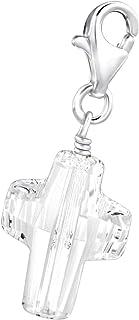 Sterling Silver Cross Charm - Swarovski Crystal