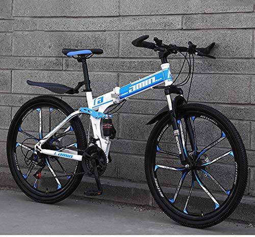 Mountain Bike Vouwfietsen, 26in 21-Speed Double Disc Brake Front Suspension Anti-Slip, lichtgewicht frame, verende voorvork