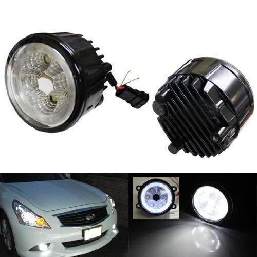 iJDMTOY Xenon White LED Fog Lamp Assy For Infiniti G25 G37 FX35 FX45 FX45 M37 Nissan Juke Cube Quest Murano w/ LED Halo Rings, Powered by 6 Pieces 3W LED Bulbs Each Side
