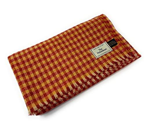 Manta de tweed de lana pura, colcha de color naranja y amarillo quemado pequeño a cuadros