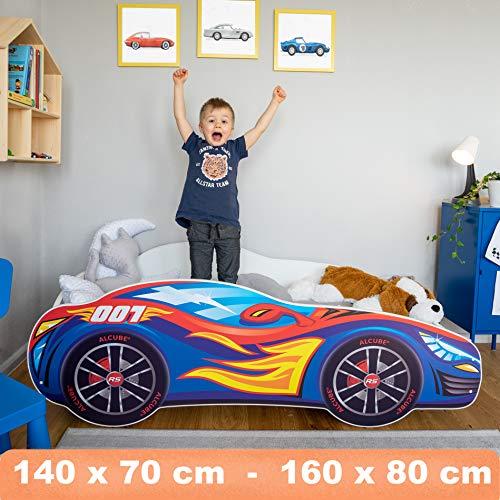 Autobett Pkw Burning Flame 80x160 cm Kinderbett blau mit Lattenrost und Matratze MDF beschichtet