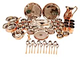 Indian Art Villa Steel Copper 63 Piece Dinner Thali Set – Serving Food Dishes Tableware Kitchen & Dining Tableware