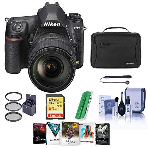 Nikon D780 FX-Format DSLR Camera with AF-S NIKKOR 24-120mm f/4G ED VR Lens - Bundle with 64GB SDXC Card, Camera Bag, 77mm Filter Kit, Cleaning Kit, Capleash II, Card Reader, Pc Software Package