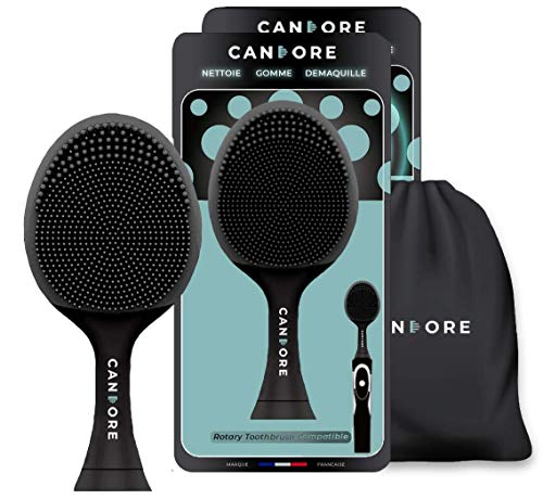 CANDORE - Juego de 2 cepillos para cara de silicona negra de carbono Infused Sonic – Reciclables – Exfoliación de maquillaje, limpieza – Compatible con Philips tu cepillo de dientes eléctrico