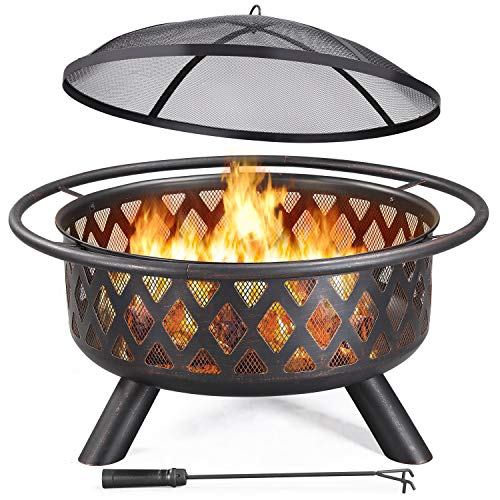 YAHEETECH 30 Inch Outdoor Round Fire Pit - Backyard Patio Garden Stove Bonfire Wood Burning Firepit for Outside with Spark Screen and Poker, Celestial Design
