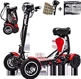 KOQIO Portable Mobility Scooter, Travel Car Boot Scooter 4 Wheel Portable Mobility Scooter with Front and Rear Baskets 36V/10.6AH Batteries MAX Cruising Range 30Km,Red