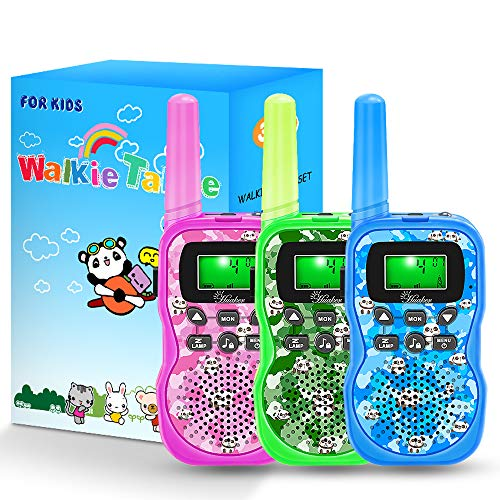 Walkie Talkies for Kids, 3 Pack 22 Channels 2 Way Radio Outside Toy with Backlit LCD Display,3 Miles Range Panda Kids Walkie Talkies for Outside Adventures, Camping, Hiking