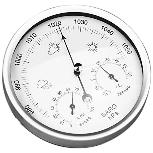 SNOWINSPRING Digitales Innen-Hygrometer Tragbares 3-In-1-Wand-Wetterthermometer-Barometer-Hygrometer Wohnkultur 132MM Verwendung für Unterschiedliche Umgebungen (Wei?, Einheitsgr??E)