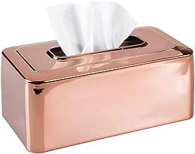mDesign Modern Metal Tissue Box Cover for Disposable Paper Facial Tissues, Rectangular Holder for Storage on Bathroom Vanity, Countertop, Bedroom Dresser, Night Stand, Desk, Table - Rose Gold