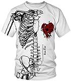 Ocean Plus Hombre Deportes Camiseta Colorido Unisexo Camiseta de Secado Rápido Cuello Redondo Impresión Mirada de Pareja Manga Corta Tops (L/165-170, Esqueleto del corazón)
