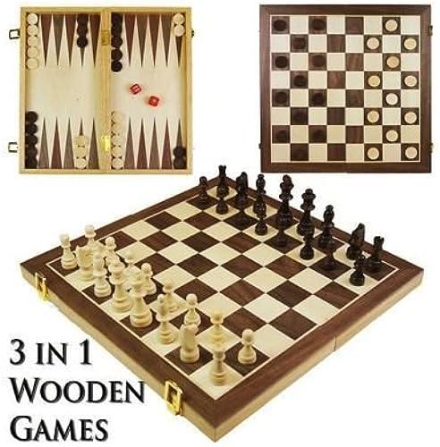 ordenar ahora Juego de mesa de viaje genérico genérico genérico para juegos de ajedrez, ajedrez y ajedrez 3 en 1, tablero de madera mon Draught Backgammon Draughts  ventas de salida