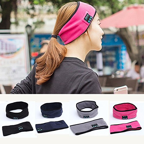 Efanr Bluetooth Music Headband, Wireless Stereo Speakers Headphones Headset Earbuds with Mic Women Men Hands-Free Sweatband Headgear for Sport Gym Fitness Exercise Outdoor Running Sleeping (Rose)