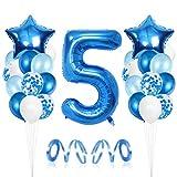 5er Cumpleaños Bebe Globos Decoracion, Cumpleaños 5 Año Bebe Niño, Globos Numeros 5 Decoracion, Globos de Confeti de Latex Boy Ballon Party Cumpleaños 5 Año