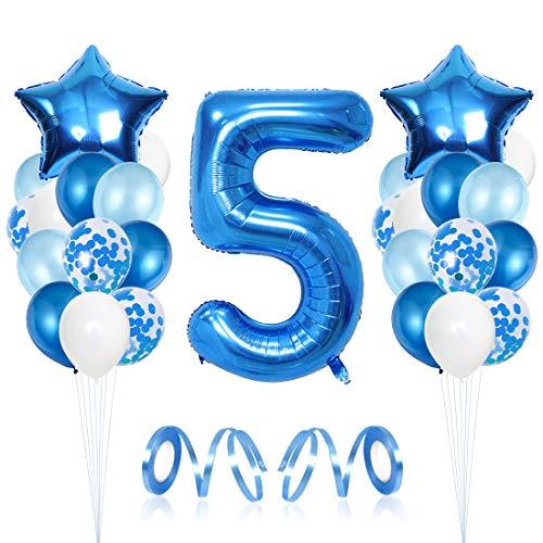 Bluelves Luftballon 5. Geburtstag Blau, Geburtstagsdeko Jungen 5 Jahr, Happy Birthday Folienballon, Deko 5 Geburtstag Junge, Riesen Folienballon Zahl 5, Ballon 5 Deko zum Geburtstag
