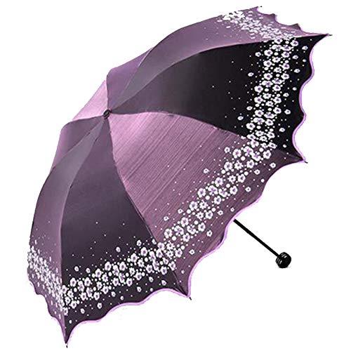 LLVV Paradijs 3Floding Paraplu Volledige Blackout Kleur Flash Parasol Regen Paraplu Vrouwen Mode Gebogen Prinses Parasol Vrouwelijke Creatieve Gift