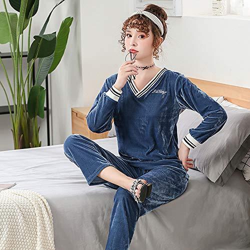 LUOY Damen Pyjama Set,Damen Warm Weich Elegant Nightwear Blau Einfarbig Golden Velvet V-Ausschnitt Tops Bottoms Comfy Homewear, L.