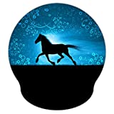 AORTDES Running Horse 9 x 10 Inches Personality Laser Mouse Pad with Wrist Rest, Optical Non-Slip Rubber Base Ergonomic Memory Foam Pain Relief Mouse Pad Mat Desk Mice Mat for Unisex Adults(WRP-03)