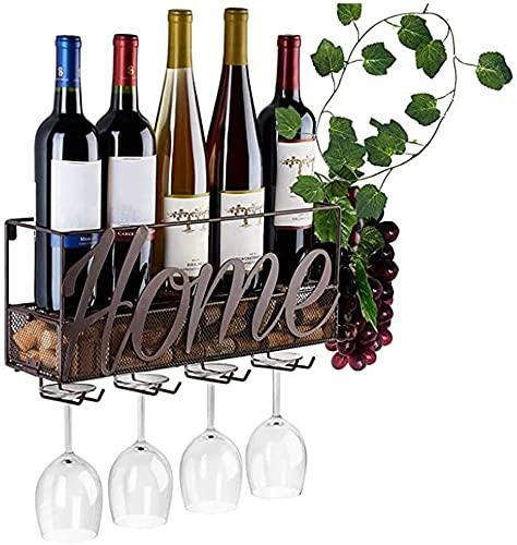 RAZIGI Botella de Vino montada en la Pared Botella y Soporte de Vidrio Tienda de Almacenamiento de Corcho Rojo, Blanco, Champagne para el hogar y la Cocina Décor de Almacenamiento. (Color : Brown)