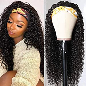 UNice Headband Wig for black Women Human Hair Curly Wig Brazilian Virgin Hair Glueless Non Lace Front Wig 150% Density (22inch)