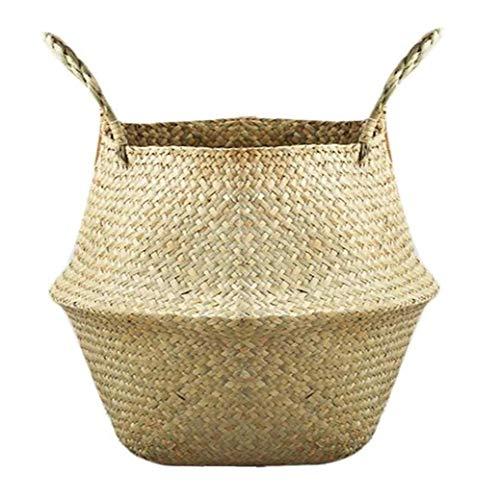 tJexePYK Cesta de la Flor Plegable Seagrass Tejida Almacenamiento Tejido Paja Cesta de Almacenamiento se Utiliza para cestas Tienda Maceta y cestas de Picnic y lavandería comestibles 1PC